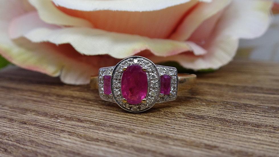 9ct Yellow Gold Ruby & Diamond Dress Ring