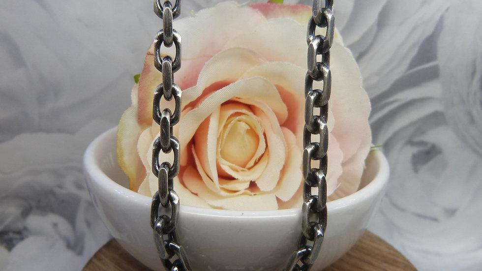 "Silver Oxidised Anchor 22"" Chain"
