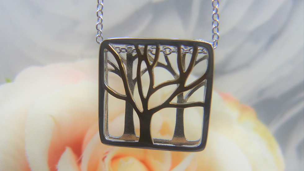 Silver & Gold Plated Tree Necklace