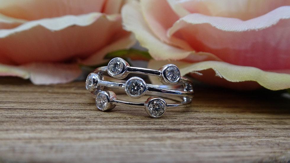18ct White Gold Diamond Bubble Ring