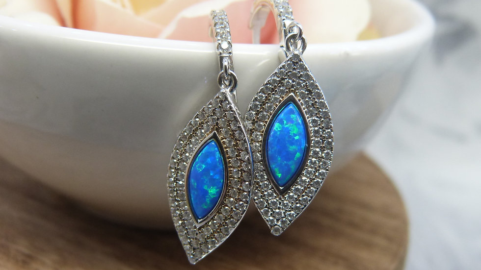 Silver Opalite & CZ Earrings