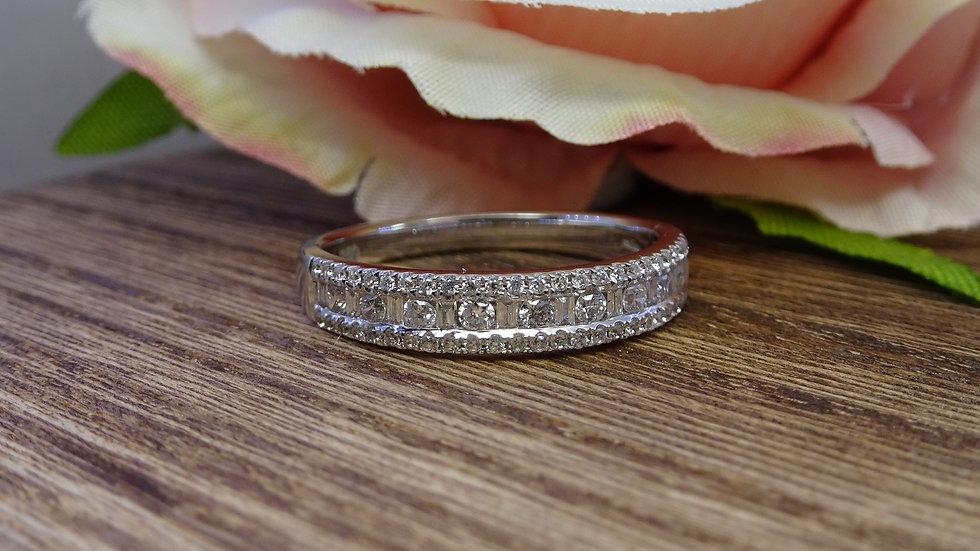 18ct White Gold Mixed Cut Diamond Eternity Ring