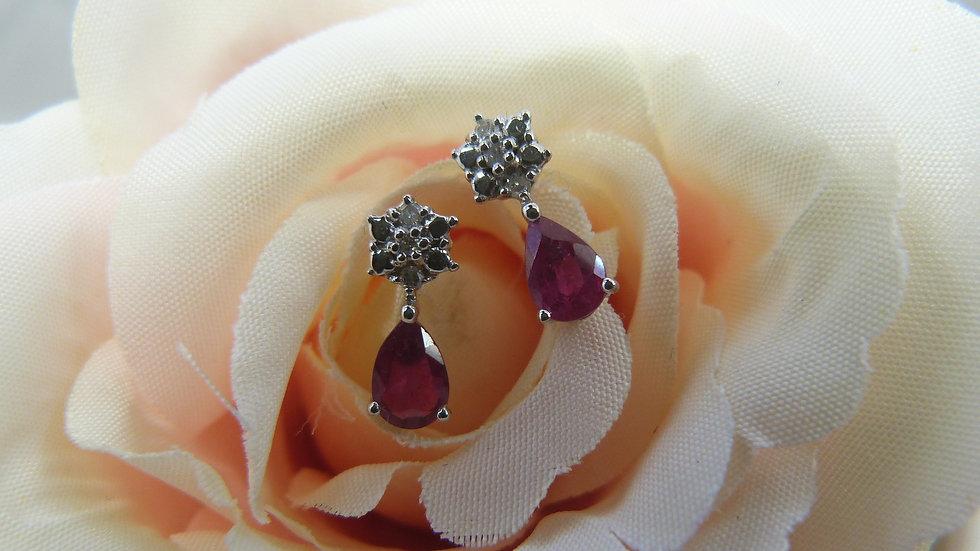 9ct White Gold Ruby & Diamond Ear studs
