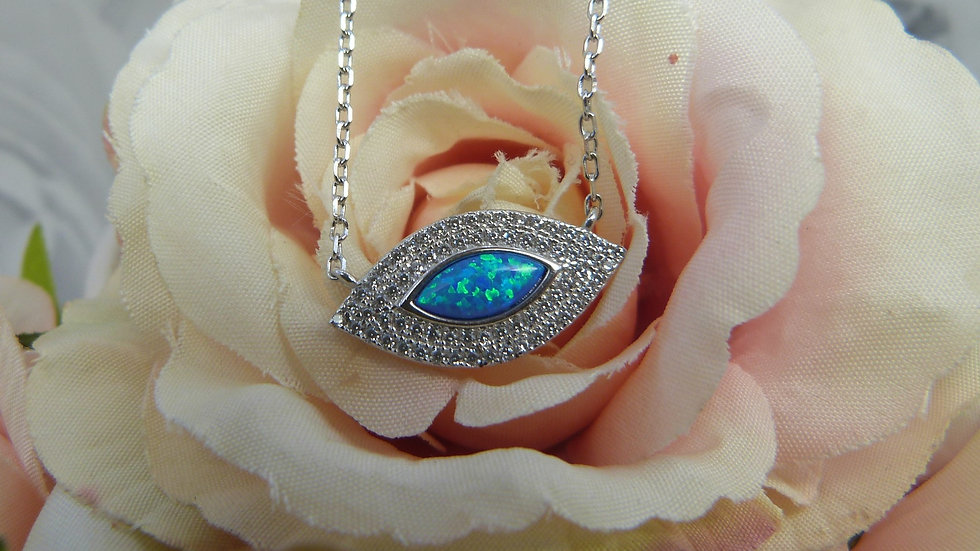 Silver Opalite & CZ Necklace