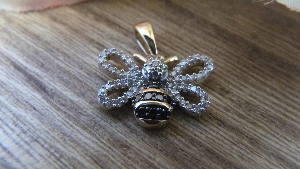 9ct Yellow Gold Black & White Diamond Bee Pendant (No Chain)