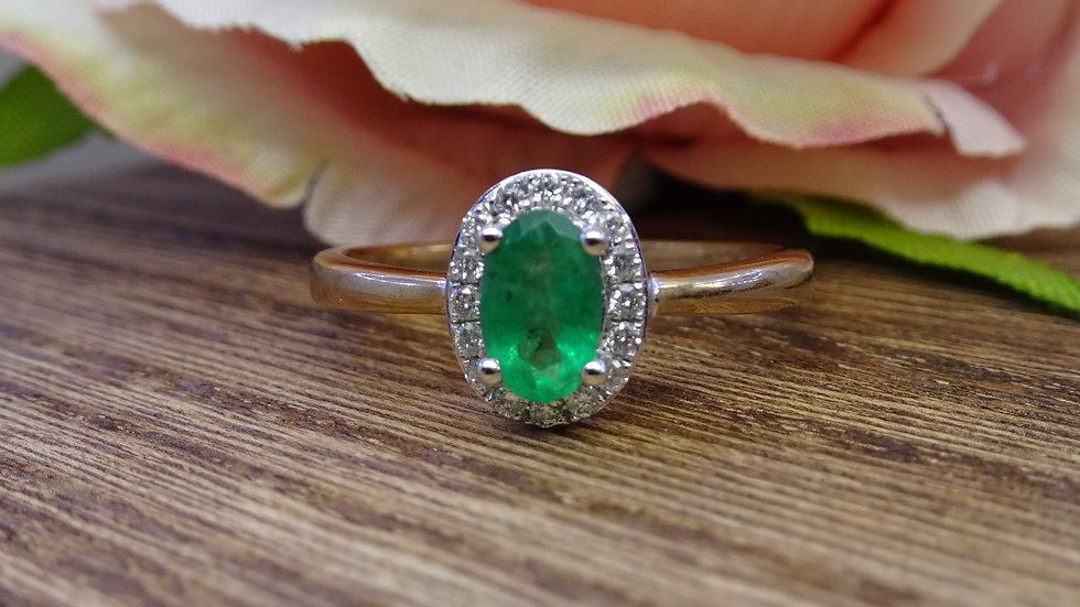 9ct Yellow Gold Emerald & Diamond Cluster