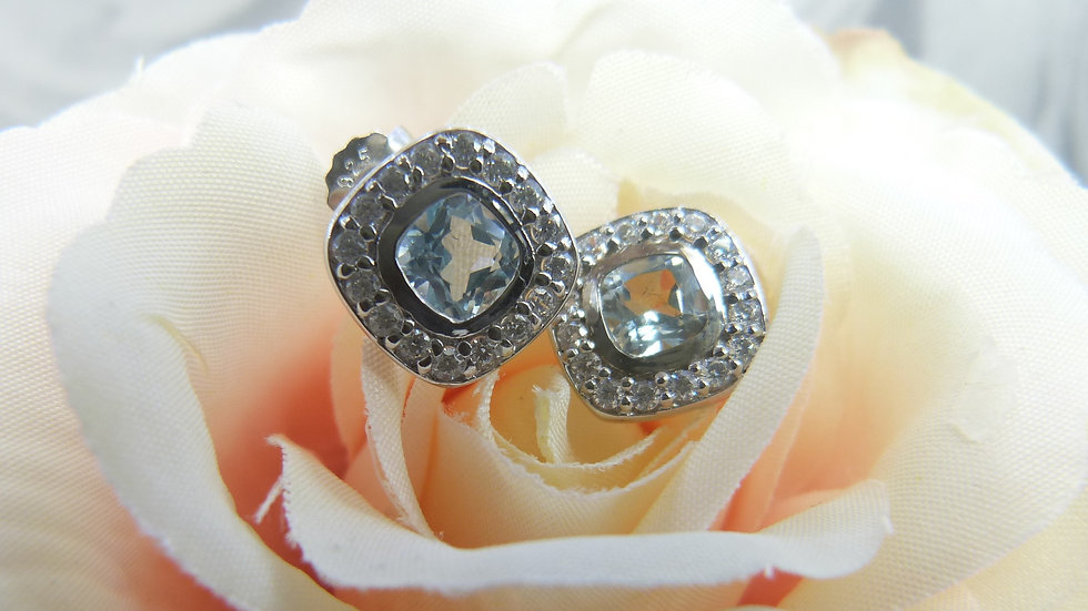 Silver Toaz & CZ Earrings