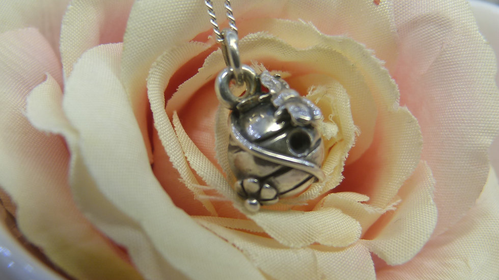 Silver Bee Hive Necklace