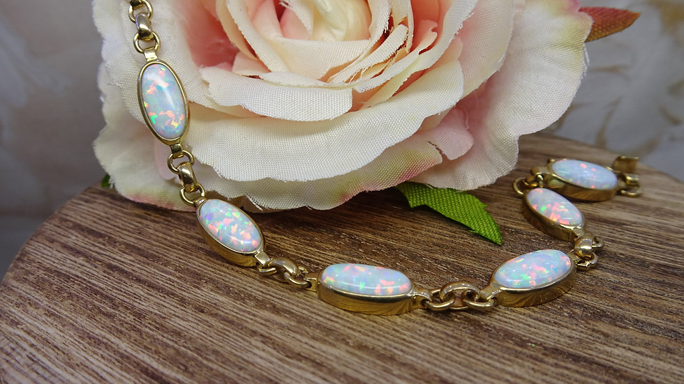 9ct Yellow Gold Oval Cultured Opal Bracelet
