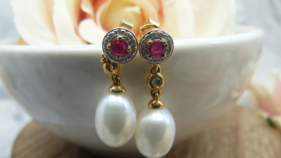 18ct Yellow Gold Ruby, Diamond & Cultured Pearl Drop Earrings