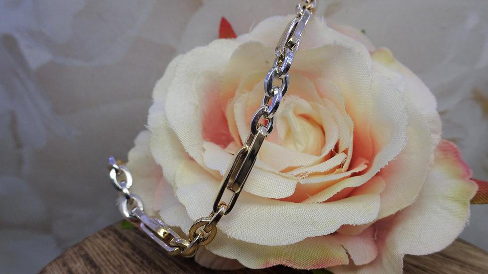 9ct Yellow & White Gold Figaro Style Bracelet