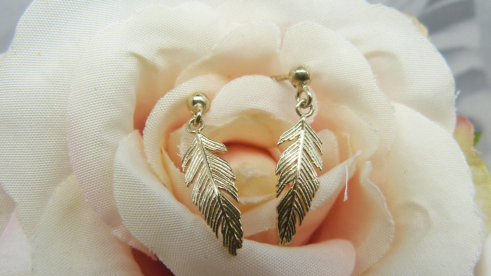 9ct Yellow Gold Feather Earrings