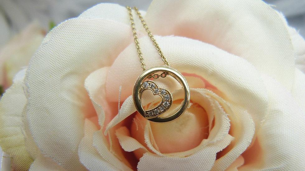 9ct Yellow Gold Heart Diamond Pendant