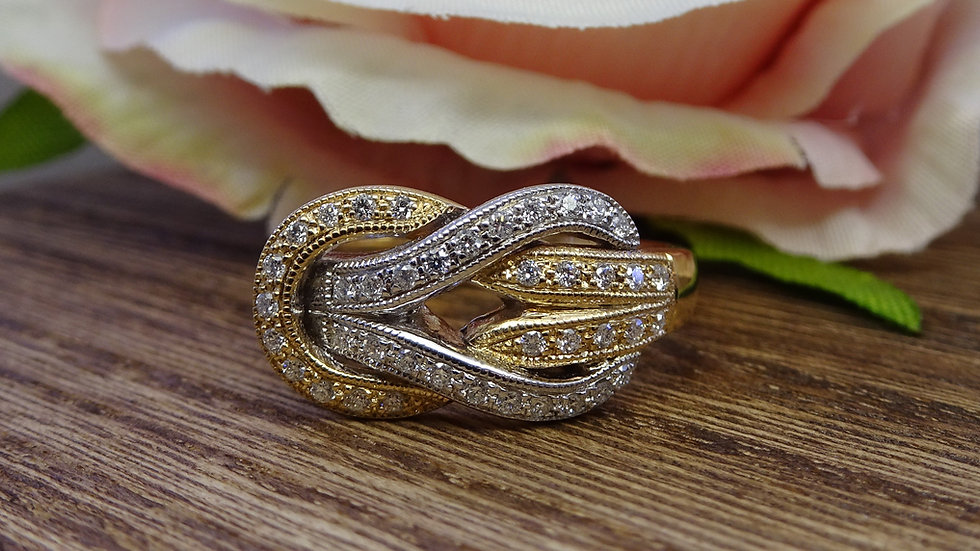 9ct Yellow & White Gold Diamond Reef Knot Dress Ring