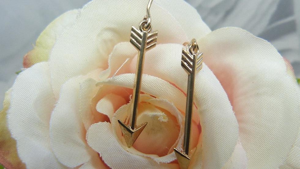 9ct Yellow Gold Arrow Earrings