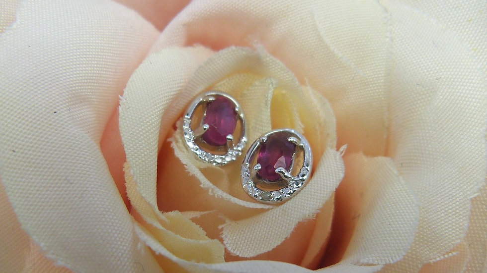 9ct White Gold Ruby & Diamond Oval Ear Studs