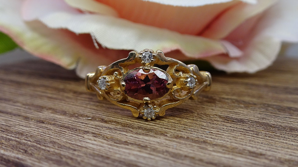 9ct Yellow Gold Rhodalite Garnet & Diamond Dress Ring