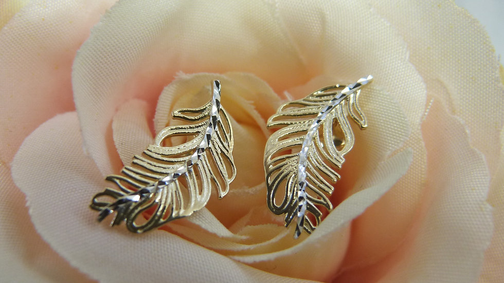 9ct Yellow & White Gold Feather Earstuds