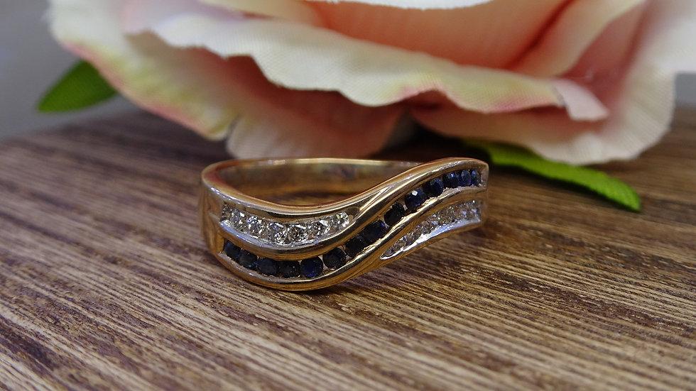9ct Yellow Gold Sapphire & Diamond Dress Ring