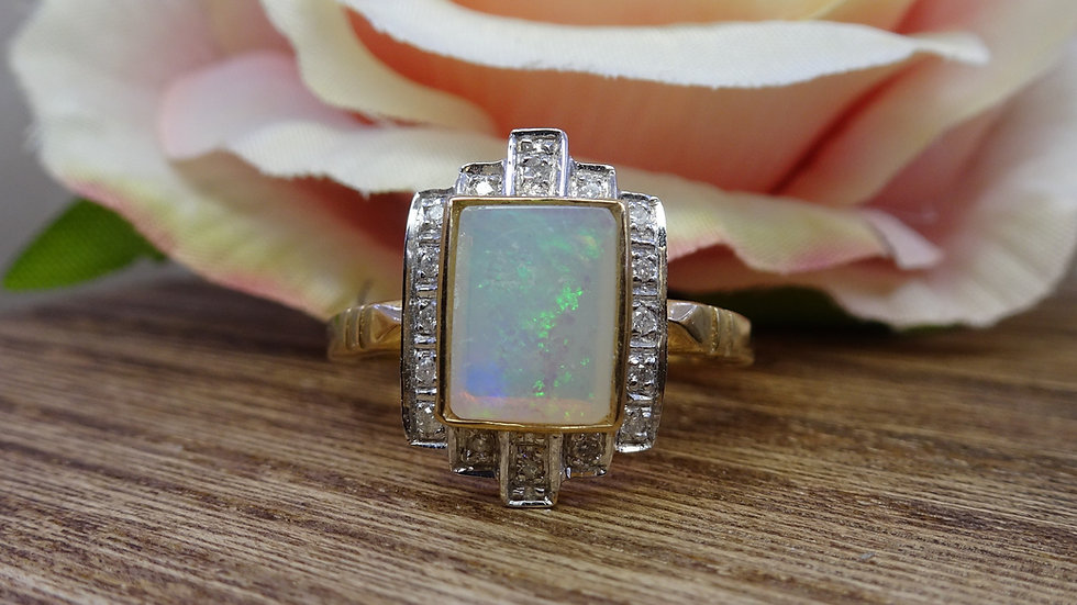 9ct Yellow Gold Art Deco Style Opal & Diamond Dress Ring