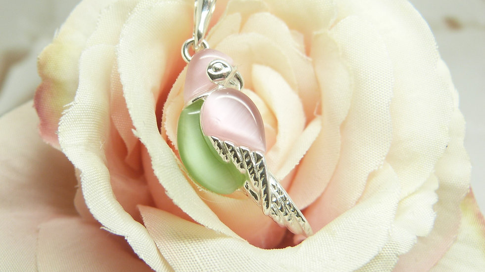 Silver Faux Mother of Pearl Parrot