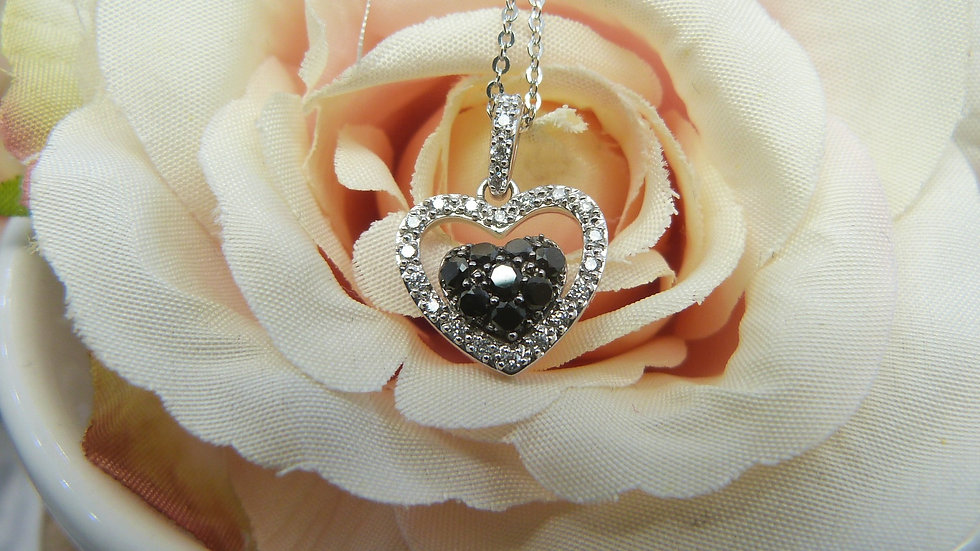 18ct White Gold Black & White Diamond Set Heart Necklace