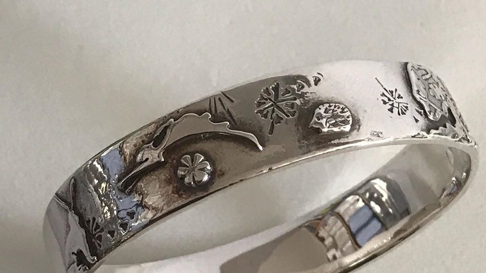 Silver Wildlife Bangle