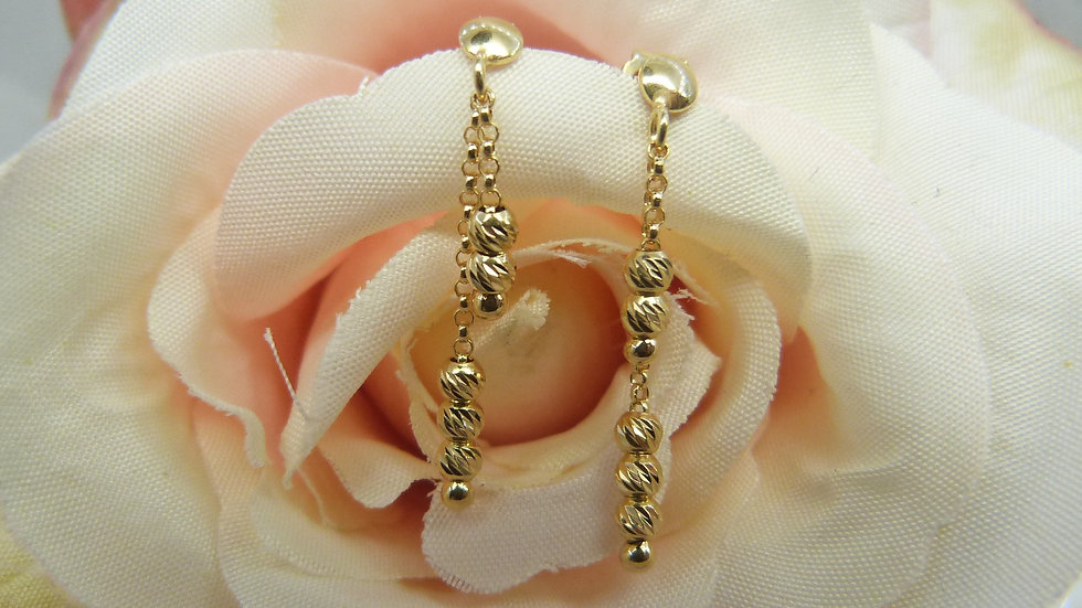 9ct Yellow Gold Beaded Ear Drops