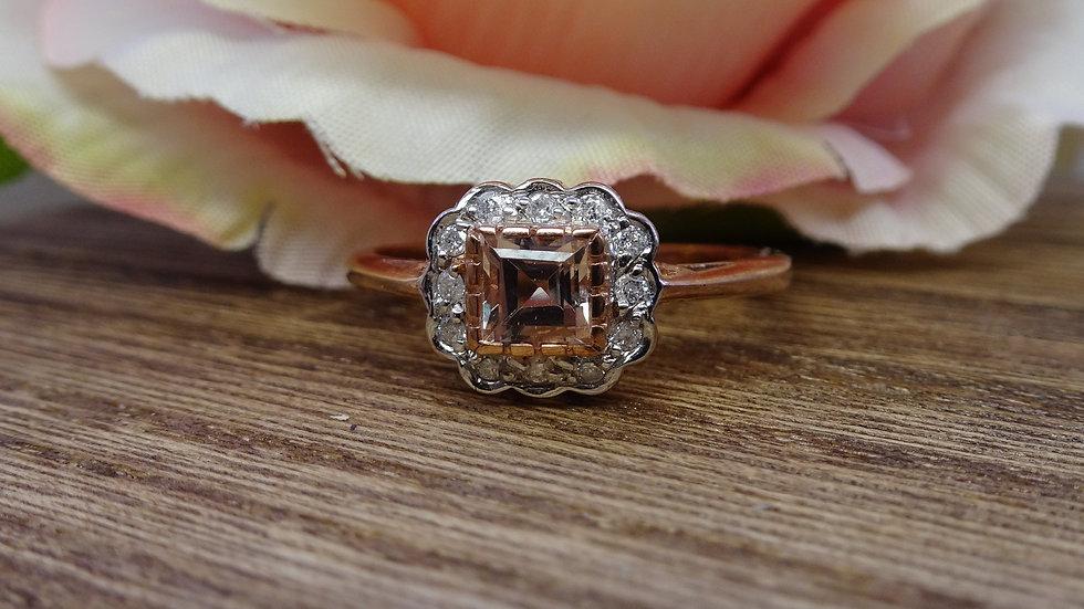 9ct Rose Gold Morganite & Diamond Dress Ring