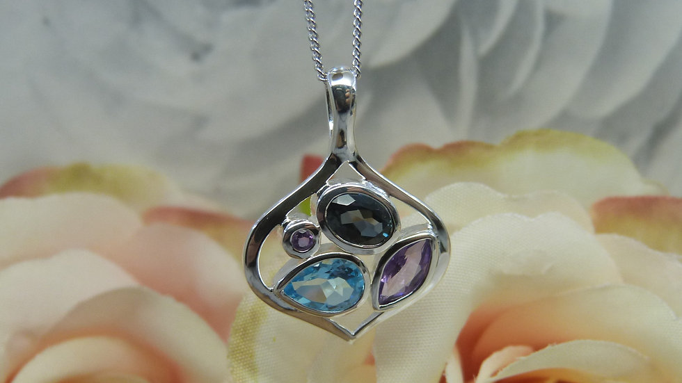 Silver Mixed Gem Necklace