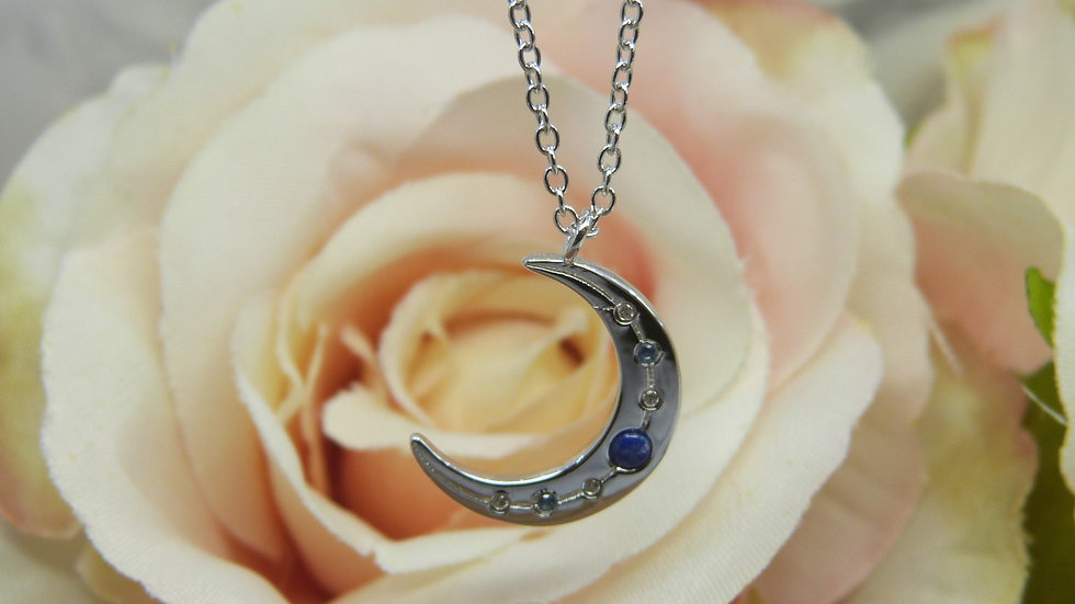 Silver Lapis & CZ Moon Necklace