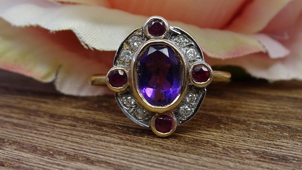 9ct Yellow Gold Amethyst, Ruby & Diamond Dress Ring