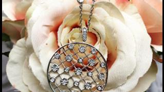 9ct White Gold Diamond Lattice Necklace