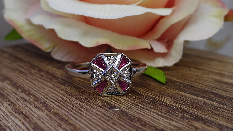 Previously Loved 18ct White Gold Ruby & Diamond Ring