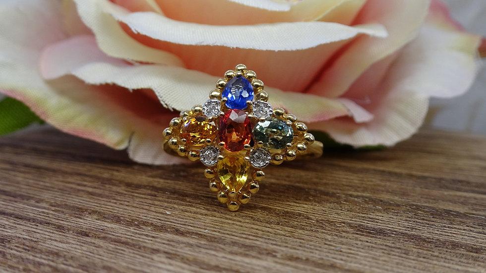 18ctYellow Gold Mixed Sapphire & Diamond Dress Ring
