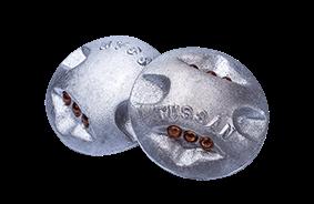 Botón de aluminio con ojo de gato.