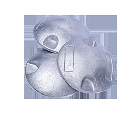 Botón de aluminio vaciado.