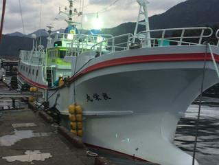 近海マグロ延縄船「良栄丸」第75回目 (平成31年 第4回目)の操業を終え て、4月3日に水揚げを行います。