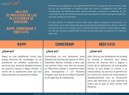 ANÁLISIS DE PRIVACIDAD DE LAS PLATAFORMAS DE SERVICIOS: RAPPI, CORNERSHOP Y UBER EATS.