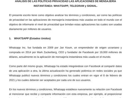 Términos y condiciones - Whatsapp Telegram y Signal