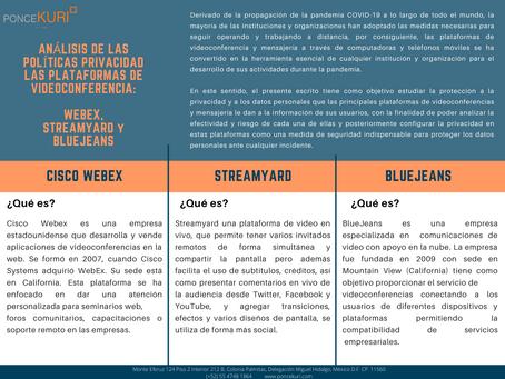 ANÁLISIS DE LAS POLÍTICAS PRIVACIDAD LAS PLATAFORMAS DE VIDEOCONFERENCIA: