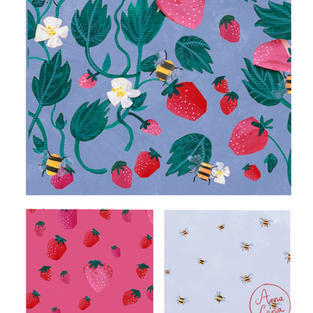 Strawberries and bees repeat pattern
