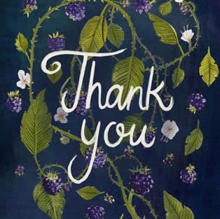 Floral + Lettering - Blackberries Thank You Card