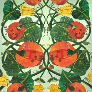 Pumpkins & Flowers Infinity Pattern