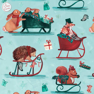 Woodland animals on sleighs - Christmas Holiday Repeat Pattern