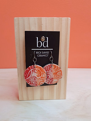 Large Red/Orange Filigree Earrings
