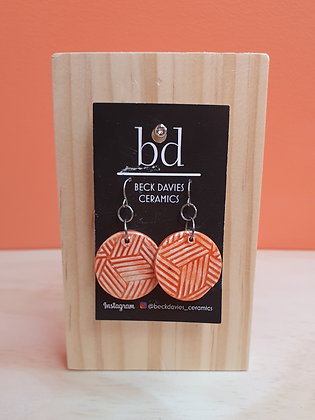 Medium Orange Chevron Earrings