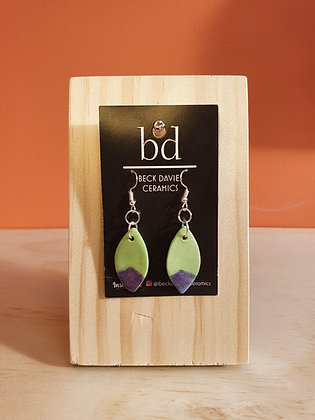 Leaf Earrings- Green/Purple Tip