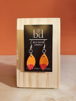 Leaf Earrings- Orange/Red Tip