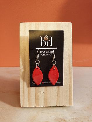Leaf Earrings- Red